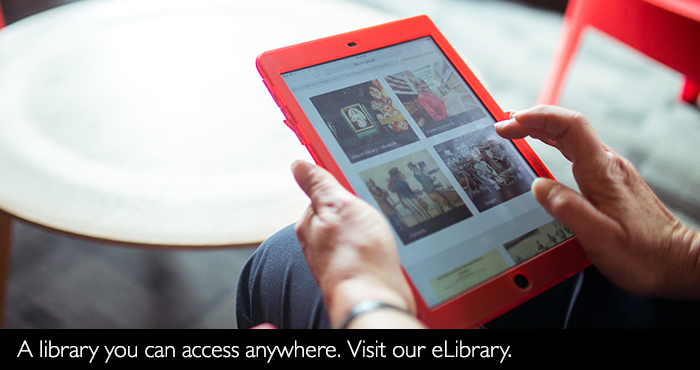 Person using a device to access eLibrary
