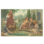 Group with angelic children and dog around pond print
