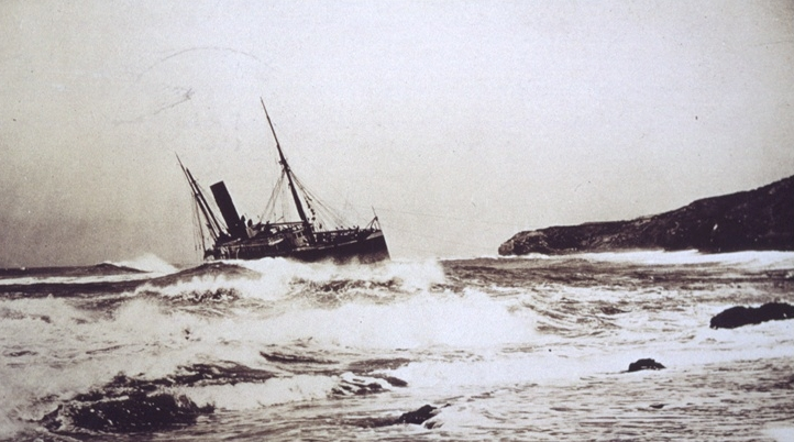 Steamer Santa Rosa wrecked near Point Arguello, California, July 1911, digitised from postcard in the Crowther Library, TAHO