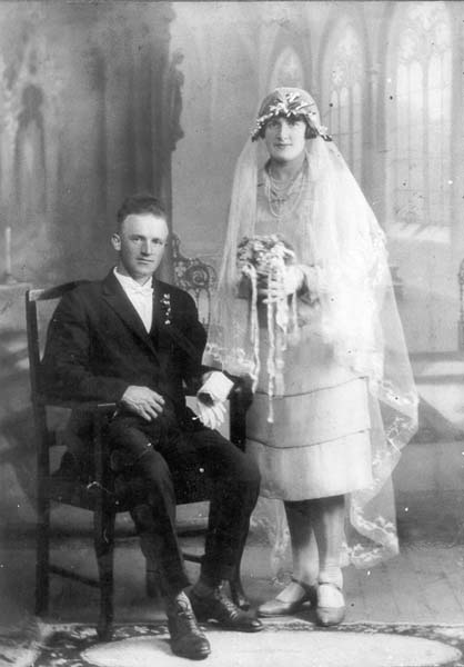 Photograph - Couple on their wedding day (unidentified) Reference: PH30-1-5921